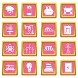 Energy sources items icons pink Stock Photo