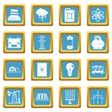 Energy sources items icons azure Royalty Free Stock Image