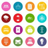 Energy sources items icons many colors set Stock Image