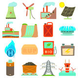 Energy sources items icons set, cartoon style. Energy sources icons set. Cartoon illustration of 16 energy sources vector icons for web Royalty Free Stock Photos