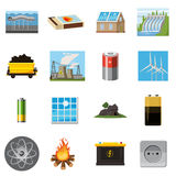 Energy sources items icons set, cartoon style Royalty Free Stock Images