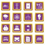 Energy sources items icons set purple Stock Photography