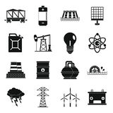 Energy sources items icons set, simple style Royalty Free Stock Image