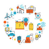 Energy Sources Line Composition Royalty Free Stock Photo