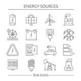 Energy Sources Line Icon Set Stock Images