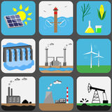 Energy sources vector icons set. Energy sources icons set. Vector illustration Stock Photo