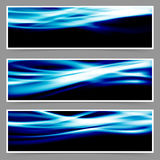 Energy speed swoosh blue wave header set Royalty Free Stock Photos