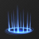 Energy spinning circle with blue glowing rays. Fantasy portal, magic twirled teleport on floor iod vector illustration. Effect energy ray teleport futuristic Stock Photo