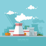 Energy station. The nuclear power plant on the background of the Royalty Free Stock Image