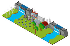 Energy station with two dam walls Royalty Free Stock Image
