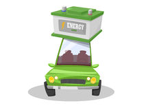 Energy storage on electric green car Stock Photo