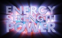 Energy Strength Power Words Light Effects Stock Photos