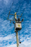 Energy Supply. Pole with electric wires and equipment Stock Photo