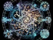 Energy of Symbolic Meaning. Astral Connection series. Design composed of Zodiac and fractal geometry symbols as a metaphor on the subject of magic, sacred stock illustration
