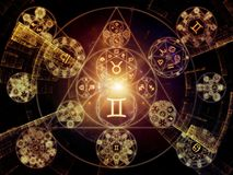 Energy of Symbolic Meaning. Astral Connection series. Design composed of Zodiac and fractal geometry symbols as a metaphor on the subject of magic, sacred Stock Image