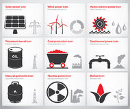 Energy symbols and icons. Icons for renewable and non-renewable energy sources: solar, wind, water, petroleum, coal, geothermal, gas, nuclear and biofuel Royalty Free Stock Photography