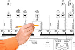 Energy technology in construction. Basic fundamental electrical schema for connection force electric equipment Royalty Free Stock Photo