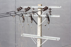 Energy and technology: electrical post  with power line cables Stock Image