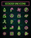 Energy thin neon glowing line icons set.vector illustration.  royalty free illustration