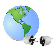 Energy to the earth concept. The earth globe connecting with electricity cable to find new resources Royalty Free Stock Photos