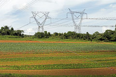 Energy tower in cultivated land Stock Image
