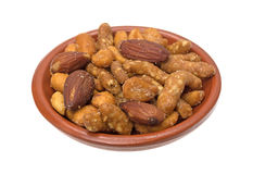 Energy trail mix blend in a small bowl Royalty Free Stock Photo