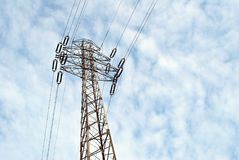 Electric pole with clear blue sky. The energy transfer system With the sky and beautiful clouds on bright days. Power poles and power lines Royalty Free Stock Photo