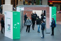 Energy transition demonstration booth in downtown Portland, Oregon. Portland, OR / USA - October 6 2018: Energy transition booth in the downtown, as a stock image