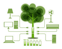 Energy From Tree Green Electronics icon Royalty Free Stock Photos