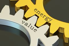 Energy Value concept on the gearwheels, 3D rendering. Energy Value concept on the gearwheels, 3D Stock Photo