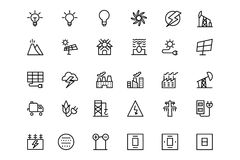 Energy Vector Line Icons 3 Royalty Free Stock Images