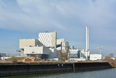 Energy from waste plant. To generate electricity and heat on the banks of the Elbe in the port of Magdeburg stock photo