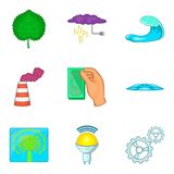 Energy of water icons set, cartoon style. Energy of water icons set. Cartoon set of 9 energy of water vector icons for web isolated on white background royalty free illustration