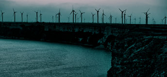 Energy wind turbines sea coast Stock Photography