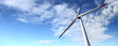 Energy wind turbines and sky with clouds Royalty Free Stock Photos