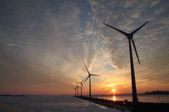Energy windmills wind turbines. Windmills (wind turbines) for sustainable energy in the Netherlands Stock Image
