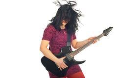 Energy woman with guitar Stock Photos