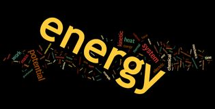 Energy Word Cloud. Collection of energy related words for design projects vector illustration