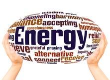 Energy word cloud hand sphere concept