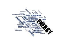 ENERGY - word cloud wordcloud - terms from the globalization, economy and policy environment Royalty Free Stock Images