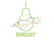 Energy word combined with graph and light bulb Royalty Free Stock Image