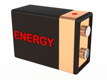 Energy for work. A battery with energy label, energy for work and play, personal enthusiasm concept Royalty Free Stock Image