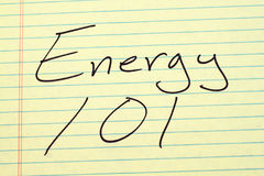 Energy 101 On A Yellow Legal Pad Stock Images