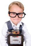 Energy for Young People. Little boy with electric meter and money Stock Images