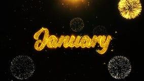 Enero desea la tarjeta de felicitaciones, invitación, fuego artificial de la celebración colocado