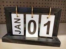 Enero, 01o, calendario el día 1 de año imágenes de archivo libres de regalías