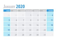 enero Planificador 2020 del calendario en estilo simple de la tabla mínima limpia Ilustración del vector libre illustration