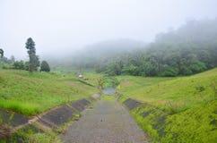 Enevoado e chovendo na manhã no grande reservatório de A em Pang Ung Foto de Stock