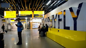Enewed Amsterdam Airport Schiphol, Netherlands,. AMSTERDAM - APR 27, 2016: renewed Amsterdam Airport Schiphol on April 27, 2016 in Amsterdam, Netherlands stock video