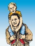 Enfant à califourchon sur (vecteur) illustration libre de droits